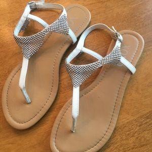 White XOXO sandals